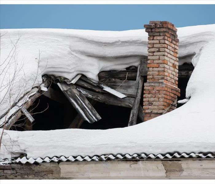 The roof collapsed under the weight of snow.
